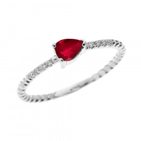0.15ct Ruby Stackable Pear Shape Rope Design Twisted Rope Ring in 9ct White Gold