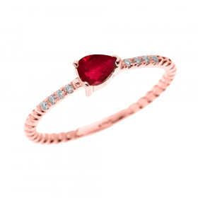 0.15ct Ruby Stackable Rope Design Twisted Rope Ring in 9ct Rose Gold
