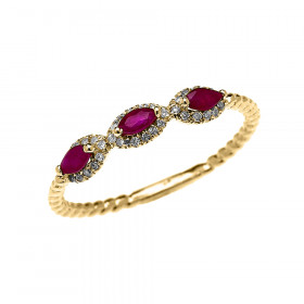0.15ct Ruby Three Stone Halo Rope Promise Ring in 9ct Gold