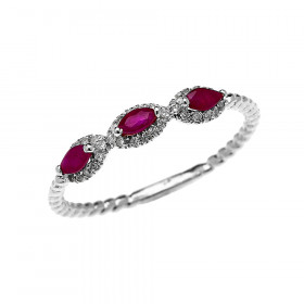 0.15ct Ruby Three Stone Halo Rope Promise Ring in 9ct White Gold