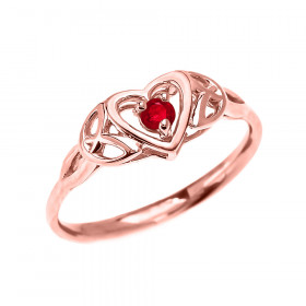 0.07ct Ruby Trinity Knot Heart Ring in 9ct Rose Gold