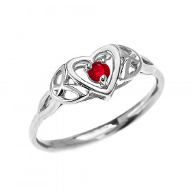 0.07ct Ruby Trinity Knot Heart Ring in 9ct White Gold