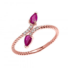 0.12ct Ruby Two Stone Rope Design Promise Twisted Rope Ring in 9ct Rose Gold