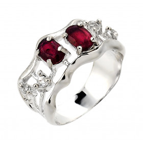 Ruby and White Topaz Ring in Sterling Silver