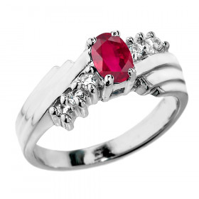 0.5ct Ruby and White Topaz Ring in Sterling Silver