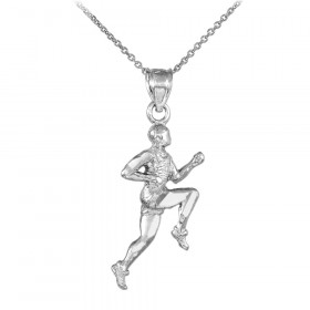 Runner Pendant Necklace in 9ct White Gold