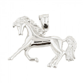 Running Horse Charm Pendant Necklace in 9ct White Gold