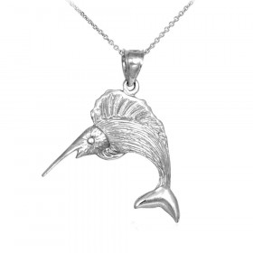 Sailfish Pendant Necklace in 9ct White Gold