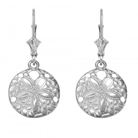Sand Dollar Earrings in 9ct White Gold
