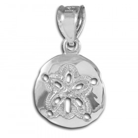 Sand Dollar Pendant Necklace in 9ct White Gold