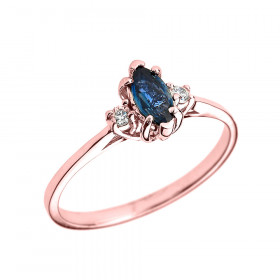 0.4ct Sapphire and Diamond Beauty Engagement Ring in 9ct Rose Gold