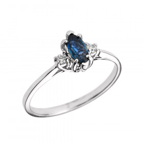 0.4ct Sapphire and Diamond Beauty Engagement Ring in 9ct White Gold