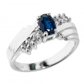 0.5ct Sapphire and Diamond Dazzle Ring in 9ct White Gold