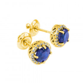 1.2ct Sapphire and Diamond Earrings in 9ct Gold