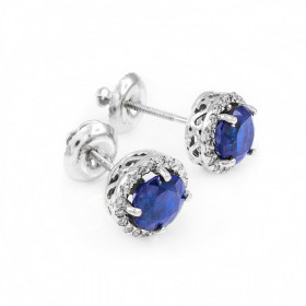 1.2ct Sapphire and Diamond Earrings in 9ct White Gold