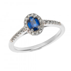 Sapphire and Diamond Elegant Halo Engagement Ring in 9ct White Gold