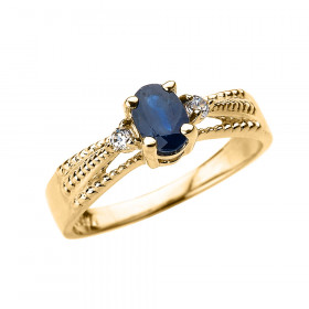 0.5ct Sapphire and Diamond Elegant Ring in 9ct Gold