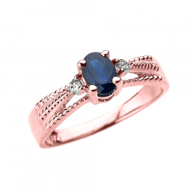 0.5ct Sapphire and Diamond Elegant Ring in 9ct Rose Gold