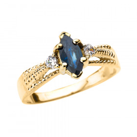 0.5ct Sapphire and Diamond Engagement Ring in 9ct Gold
