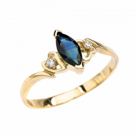 0.15ct Sapphire and Diamond Engagement Ring in 9ct Gold