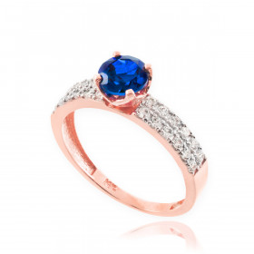 0.5ct Sapphire and Diamond Engagement Ring in 9ct Rose Gold