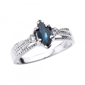 0.5ct Sapphire and Diamond Engagement Ring in 9ct White Gold