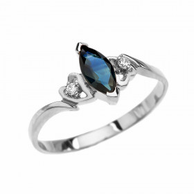 0.15ct Sapphire and Diamond Engagement Ring in 9ct White Gold