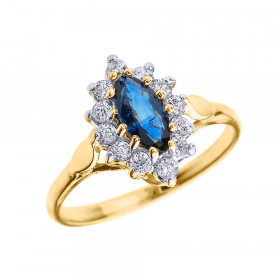 0.5ct Sapphire and Diamond Halo Engagement Ring in 9ct Gold