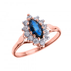 0.5ct Sapphire and Diamond Halo Engagement Ring in 9ct Rose Gold