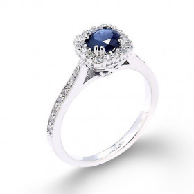 Sapphire and Diamond Halo Engagement Ring in 9ct White Gold