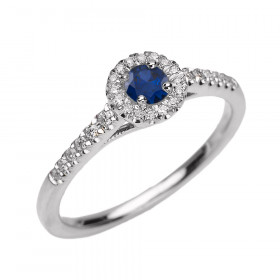 0.18ct Sapphire and Diamond Halo Engagement Ring in 9ct White Gold