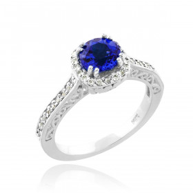 Sapphire and Diamond Halo Pave Engagement Ring in 9ct White Gold