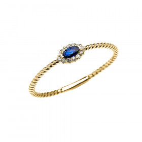 0.06ct Sapphire and Diamond Halo Rope Promise Twisted Rope Ring in 9ct Gold