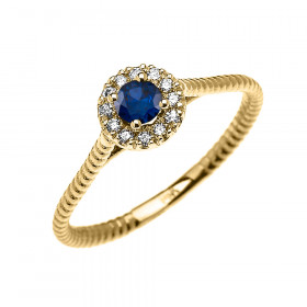 0.08ct Sapphire and Diamond Halo Rope Promise Twisted Rope Ring in 9ct Gold