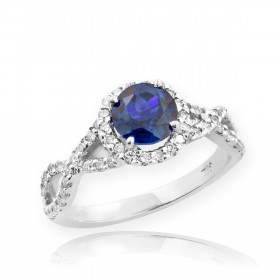 0.6ct Sapphire and Diamond Infinity Halo Engagement Ring in 9ct White Gold