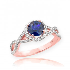 0.6ct Sapphire and Diamond Infinity Ring in 9ct Rose Gold