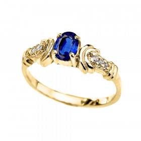 0.25ct Sapphire and Diamond Oval Engagement Ring in 9ct Gold