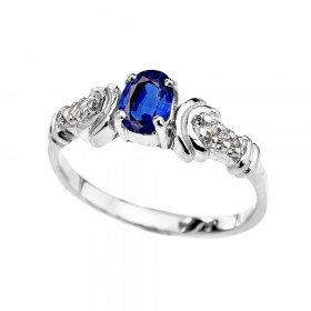 0.25ct Sapphire and Diamond Oval Engagement Ring in 9ct White Gold