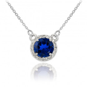 1.0ct Sapphire and Diamond Pendant Necklace in 9ct White Gold