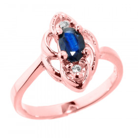 0.5ct Sapphire and Diamond Ring in 9ct Rose Gold
