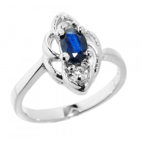 0.5ct Sapphire and Diamond Ring in 9ct White Gold