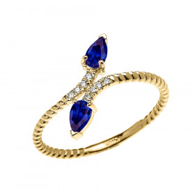 0.12ct Sapphire and Diamond Rope Design Promise Twisted Rope Ring in 9ct Gold