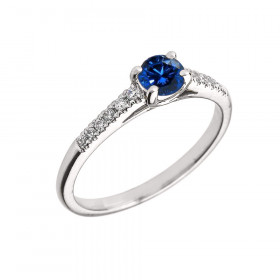 0.4ct Sapphire and Diamond Solitaire Engagement Ring in 9ct White Gold