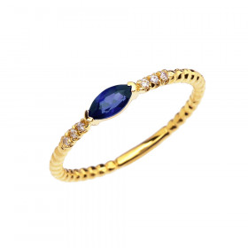 0.18ct Sapphire and Diamond Stackable Beaded Ring in 9ct Gold
