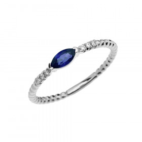0.18ct Sapphire and Diamond Stackable Beaded Ring in 9ct White Gold