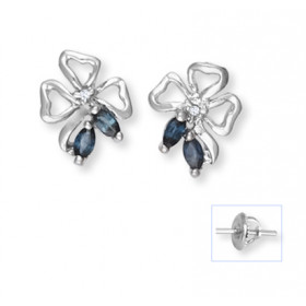 Sapphire and Diamond Stud Earrings in 9ct White Gold