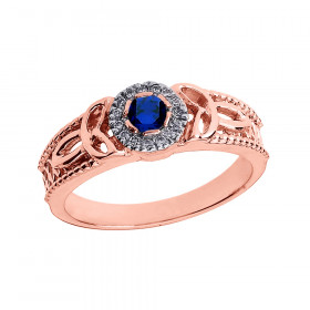 Sapphire and Diamond Trinity Knot Ring in 9ct Rose Gold