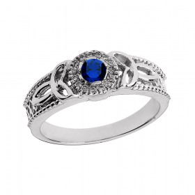 Sapphire and Diamond Trinity Knot Ring in 9ct White Gold