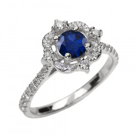 0.4ct Sapphire and Diamond Vintage Engagement Ring in 9ct White Gold