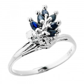 0.68ct Sapphire Drop Ring in Sterling Silver